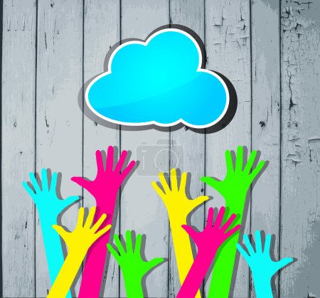 Illustration for Happy colorful hands with blue cloud on a striped wooden background - Royalty Free Image