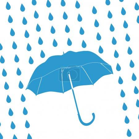 blue umbrella and rain drops