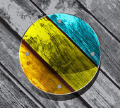 Flat brushes with paint's splashes on a Colourful Vector Wooden