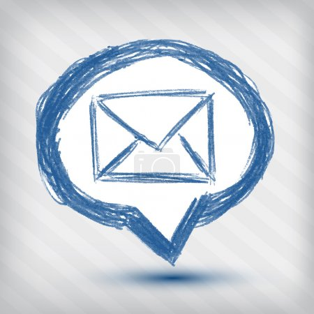 Email pointer icon on a striped background