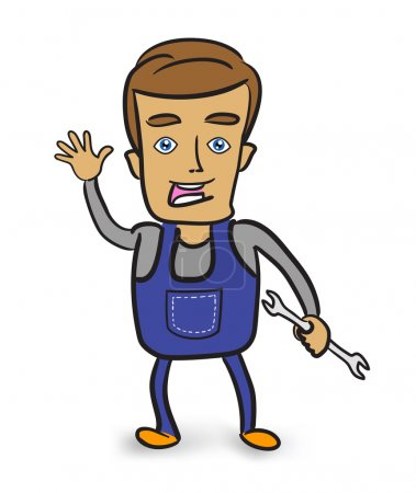 Cartoon mechanic holding a wrench.