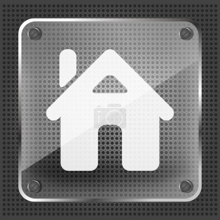 Illustration for Glass home button icon on a metallic background - Royalty Free Image