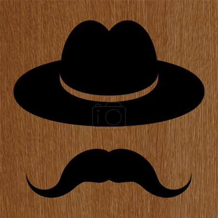 Black hat with mustache