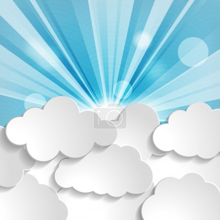 Illustration for Sun with rays and clouds on a blue background - Royalty Free Image