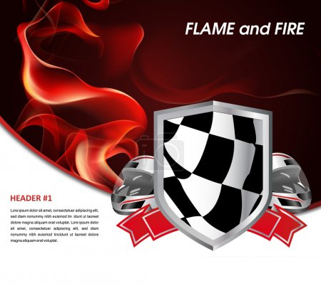 Racing poster with flames of fire and racing flag