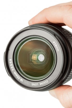 Camera photo lens in the hand isolated on white background