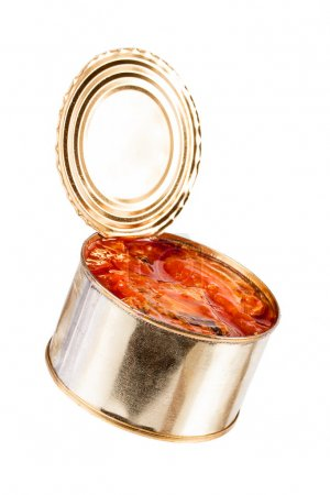 Ajar metallic can with food isolated on white background