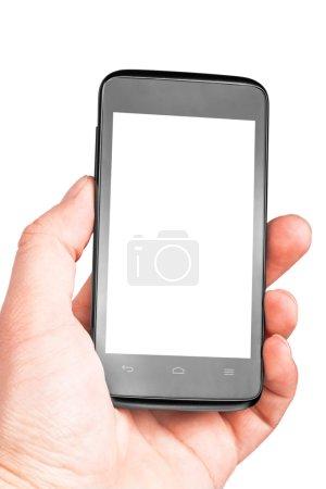 Photo pour Téléphone portable moderne à la main isolé sur fond blanc - image libre de droit