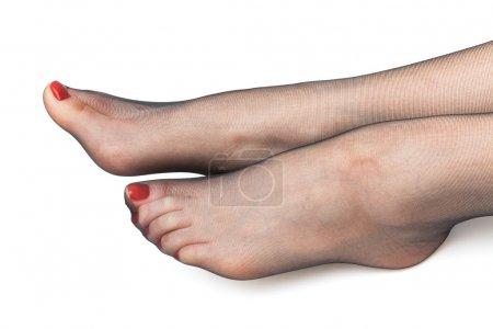 Female feet in stockings