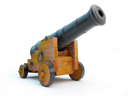 Old cannon on a white background...