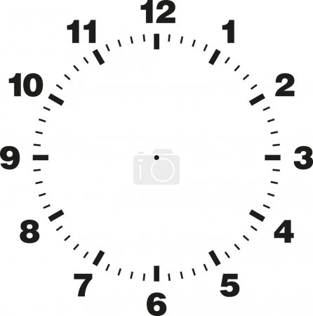 Illustration for White and black vector template of clock dial - Royalty Free Image