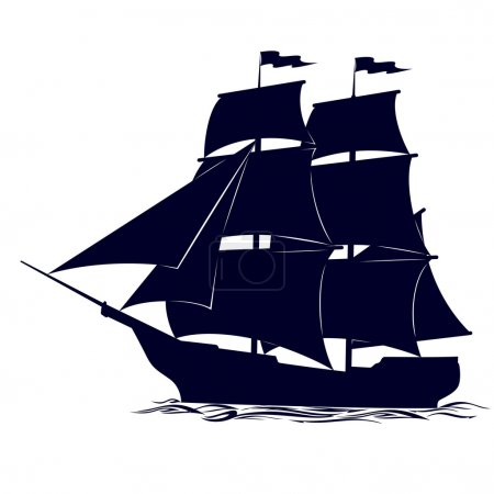 Illustration for Old sailing ship. Illustration on white background. - Royalty Free Image