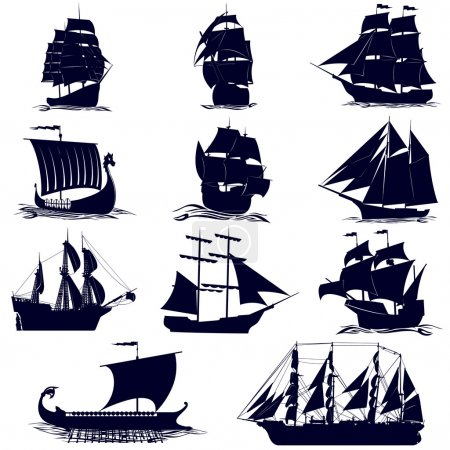 The contours of the sailing ships