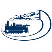 Abstract icon with a moving locomotive Old rail Illustration on white background