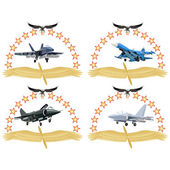 The modern military plane against wings and stars An illustration on a white background