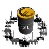 Barrel of oil products and oil platforms Illustration on white background