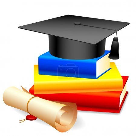 Illustration for Graduation cap on stack of color books and diploma scroll. - Royalty Free Image