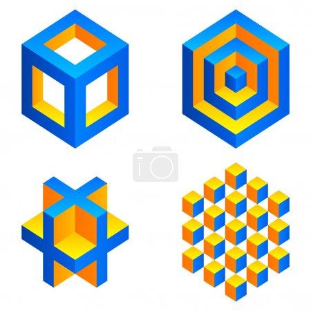 Illustration pour Ensemble de 4 figures géométriques colorées . - image libre de droit
