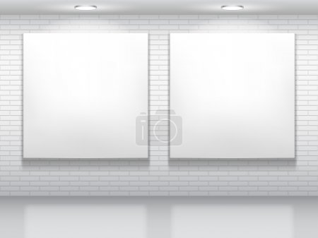 Illustration for Two blank white pictures on brick wall. - Royalty Free Image