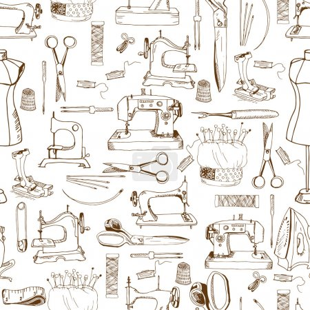 Seamless pattern, sewing tools