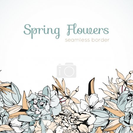 Wedding colored spring flowers, seamless border