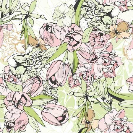 Illustration for Tender seamless pattern with tulips and narcissus, pastel colors - Royalty Free Image