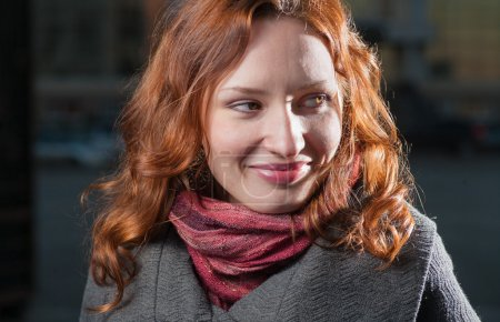 Red haired girl outdoor