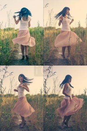 Frau tanzt im Freien gefärbtes Bild
