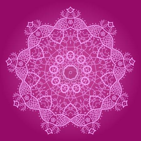 Illustration pour Motif mandala oriental motif rond sur fond violet, comme flocon de neige ou peinture mehndi de couleur rose foncé - image libre de droit