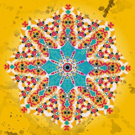 Illustration pour Oriental Jaune Bleu Mandala motif rond motif de dentelle sur le fond noir, comme flocon de neige ou peinture mehndi sur fond de couleur jaune - image libre de droit