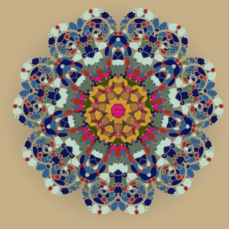 Illustration pour Qu'est-ce que le karma ? Motif mandala oriental motif rond de dentelle sur le fond jaune, comme flocon de neige ou peinture mehndi de couleur orange. Concept d'origines ethniques - image libre de droit