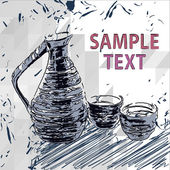 Sake bottle and cups  vector drawings