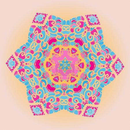 Illustration pour Mandala motif oriental motif rond motif de la dentelle sur le fond jaune, comme flocon de neige ou fond de couleur peinture mehndi - image libre de droit