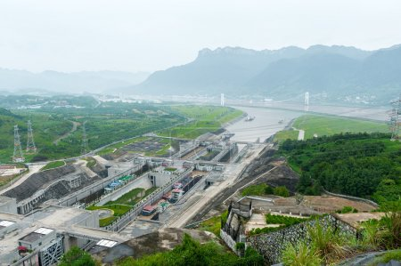 View of the Three Gorges Dam on the Yangtze River ...