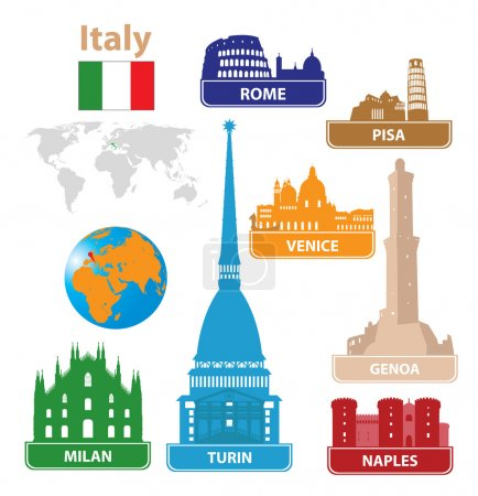Italy. Silhouettes city