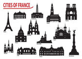 Silhouettes of cities in France