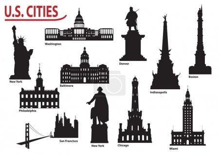 Photo pour Bâtiments les plus célèbres villes américaines. Ensemble d'illustrations vectorielles - image libre de droit