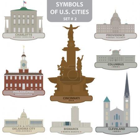 Photo pour Symboles des villes américaines. Set 2. Vecteur pour vous design - image libre de droit