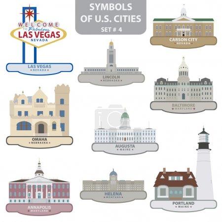 Photo pour Symboles des villes américaines. Ensemble 4. Vecteur pour vous design - image libre de droit