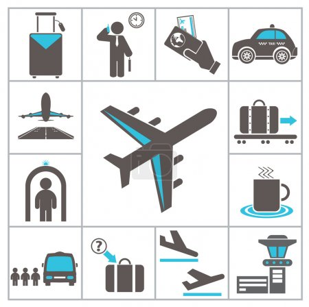 Illustration for Airport icons. Set for you design - Royalty Free Image