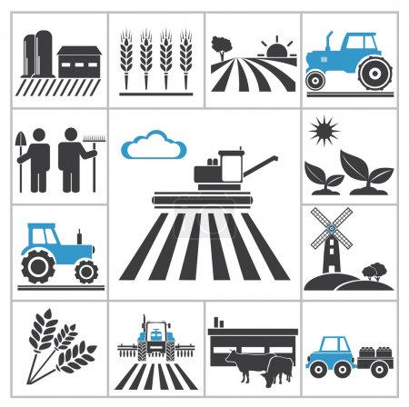 Illustration for Agriculture icons. Vector set for you design - Royalty Free Image