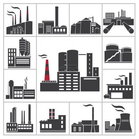 Photo pour Icônes d'usine et de l'industrie. Ensemble vectoriel - image libre de droit