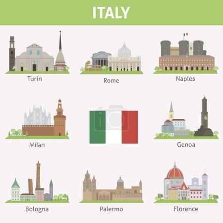 Photo pour Italie. Symboles des villes. Ensemble vectoriel - image libre de droit