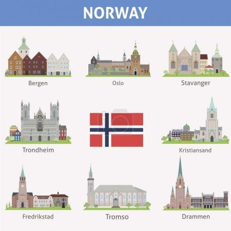 Photo pour Norvège. Symboles des villes. Ensemble vectoriel - image libre de droit