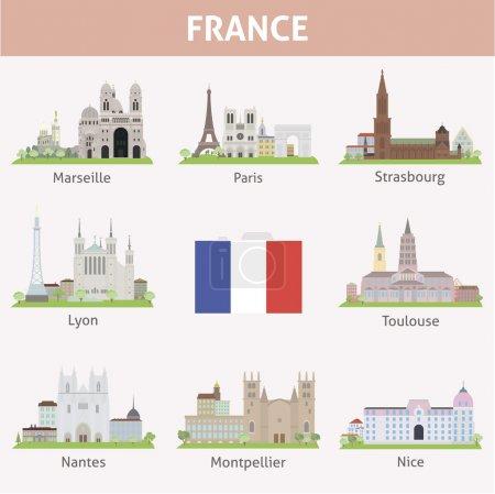 Illustration pour La France. Symboles des villes. Ensemble vectoriel - image libre de droit