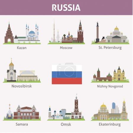 Photo pour La Russie. Symboles des villes. Ensemble vectoriel - image libre de droit
