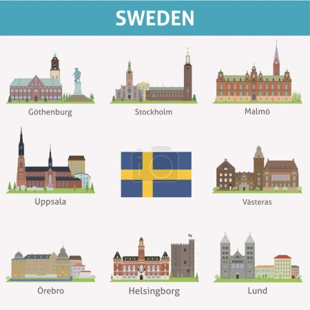 Photo pour Suède. Symboles des villes. Ensemble vectoriel - image libre de droit