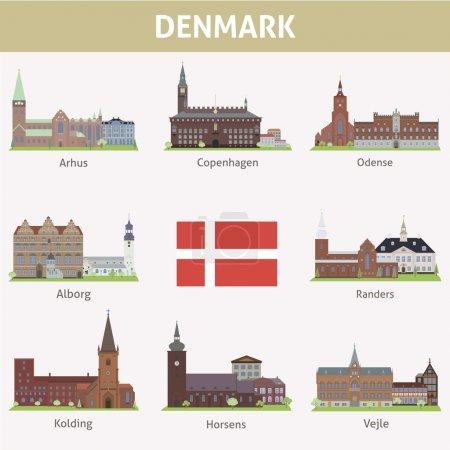Photo pour Danemark. Symboles des villes. Ensemble vectoriel - image libre de droit