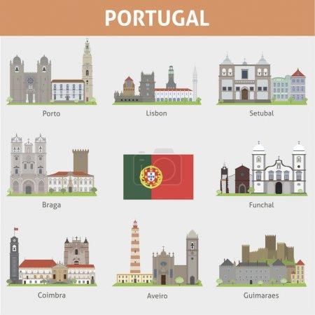 Photo pour Le Portugal. Symboles des villes. Ensemble vectoriel - image libre de droit