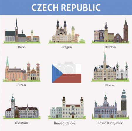 Photo pour République tchèque. Symboles des villes. Ensemble vectoriel - image libre de droit